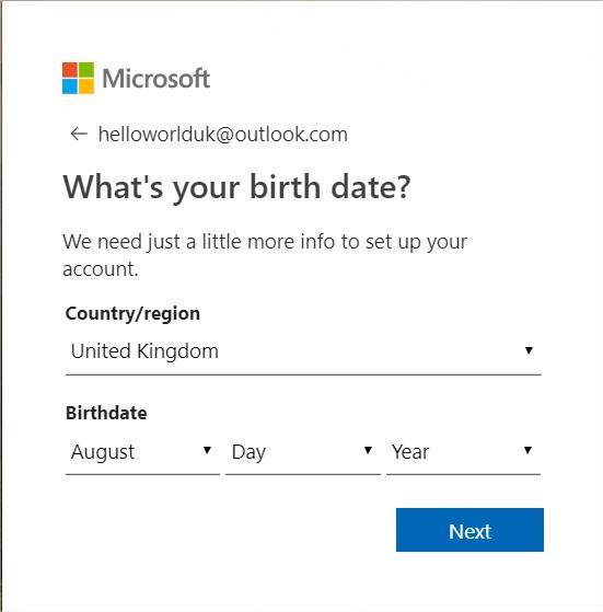 Hotmail.co.uk login process